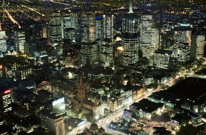 View of Melbourne at night from Eureka Tower