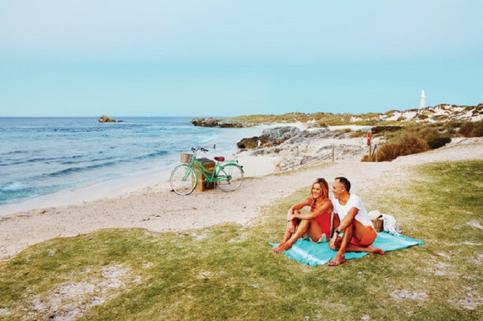Couple relaxing along Rottnest Island