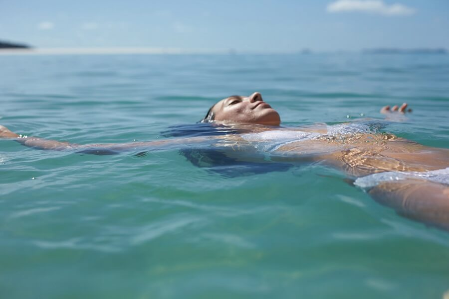 Swimming at Whitehaven Beach