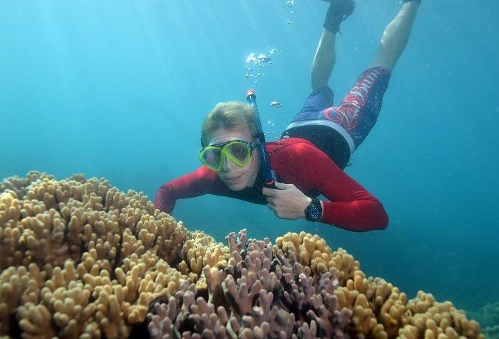 Snorkeling in the fringe reef
